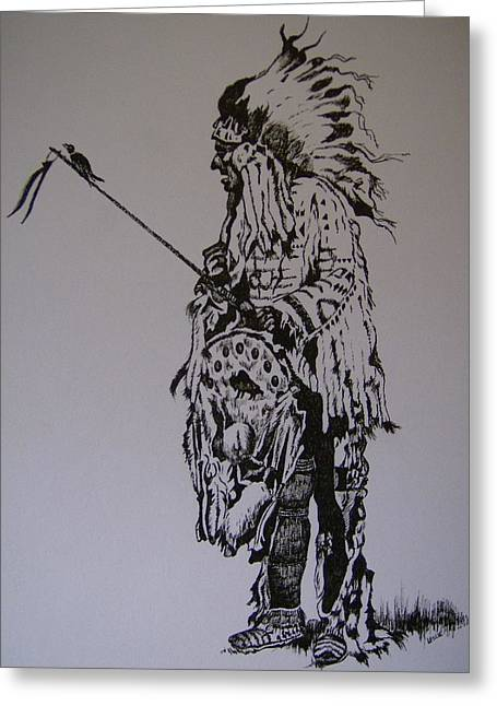 Greeting Card featuring the drawing Head Dress by Leslie Manley