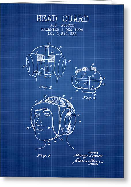 Head Guard Patent From 1924 - Blueprint Greeting Card by Aged Pixel