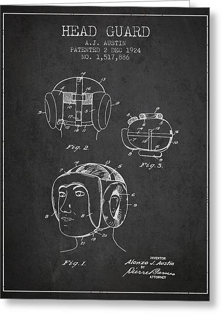 Head Guard Patent From 1924 - Charcoal Greeting Card by Aged Pixel