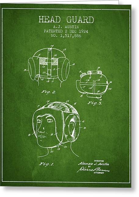 Head Guard Patent From 1924 - Green Greeting Card by Aged Pixel