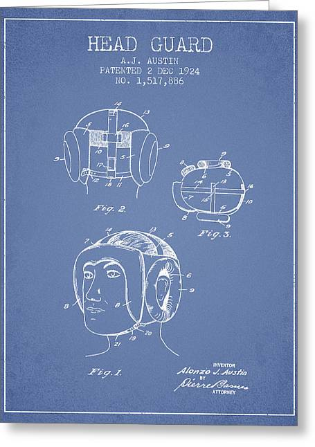 Head Guard Patent From 1924 - Light Blue Greeting Card by Aged Pixel