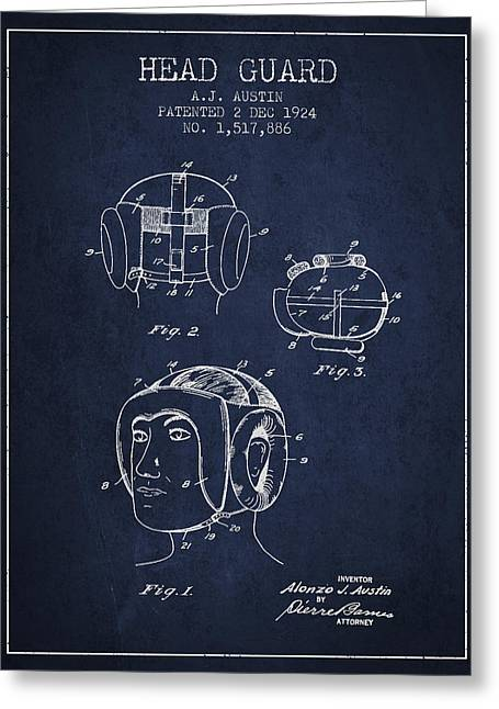 Head Guard Patent From 1924 - Navy Blue Greeting Card by Aged Pixel