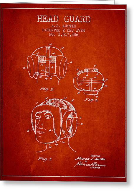 Head Guard Patent From 1924 - Red Greeting Card by Aged Pixel