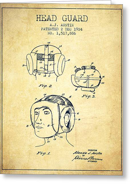 Head Guard Patent From 1924 - Vintage Greeting Card by Aged Pixel