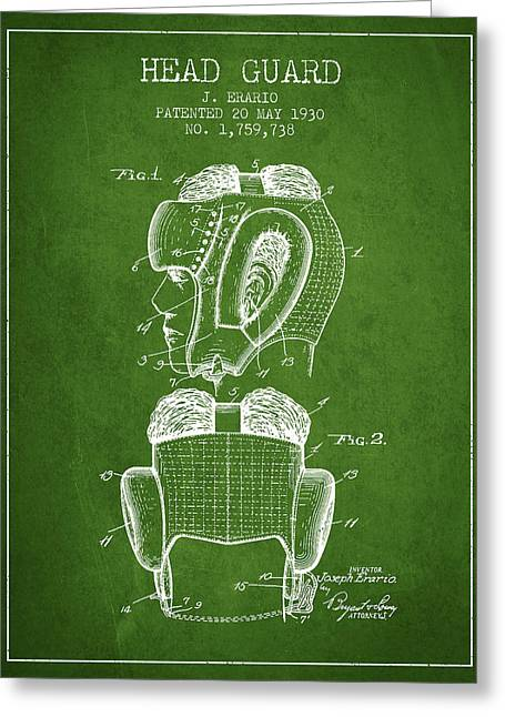 Head Guard Patent From 1930 - Green Greeting Card by Aged Pixel