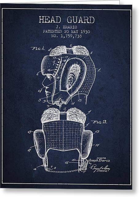 Head Guard Patent From 1930 - Navy Blue Greeting Card by Aged Pixel