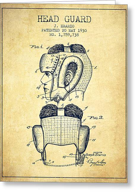 Head Guard Patent From 1930 - Vintage Greeting Card by Aged Pixel
