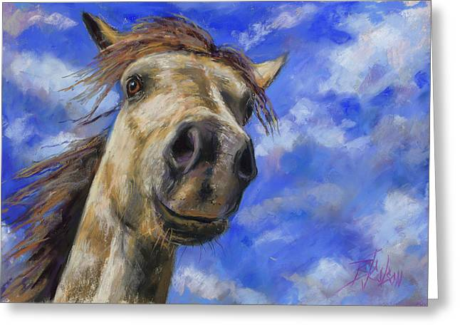 Head In The Clouds Greeting Card by Billie Colson