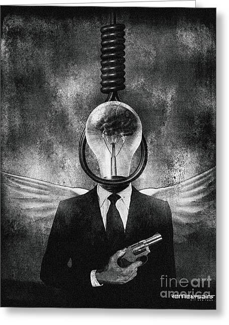 Head Like A Hole Greeting Card by Remedysains
