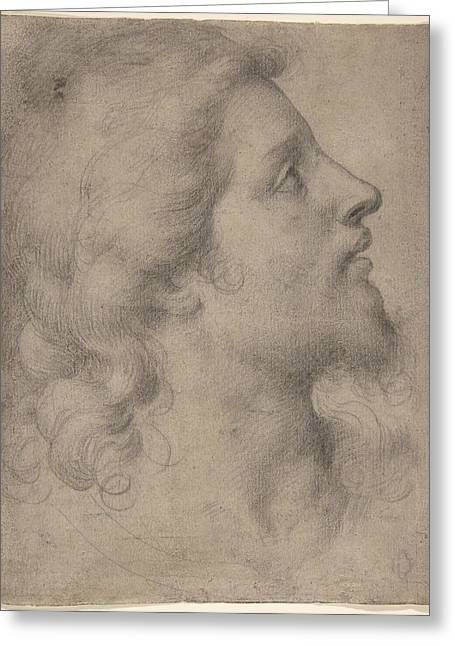 Head Of A Bearded Young Man Greeting Card