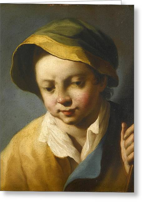 Head Of A Boy Looking Down Wearing A Green And Yellow Hat And Holding A Wooden Staff Greeting Card by Follower of Giovanni Battista Piazzetta