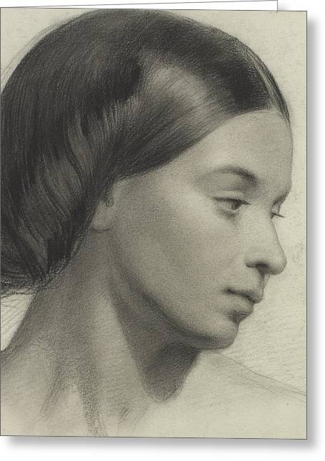 Head Of A Girl Greeting Card by Anonymous