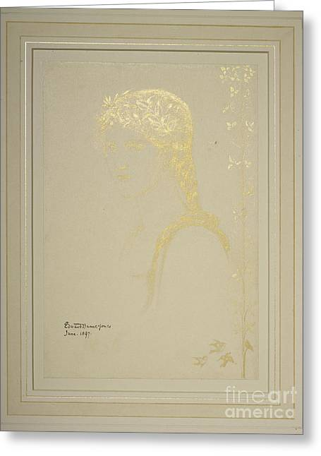 Head Of A Girl  Greeting Card by MotionAge Designs