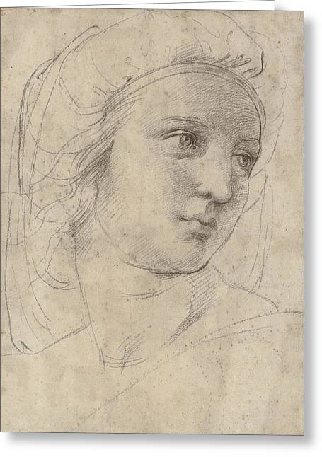 Head Of A Muse Greeting Card by Raphael