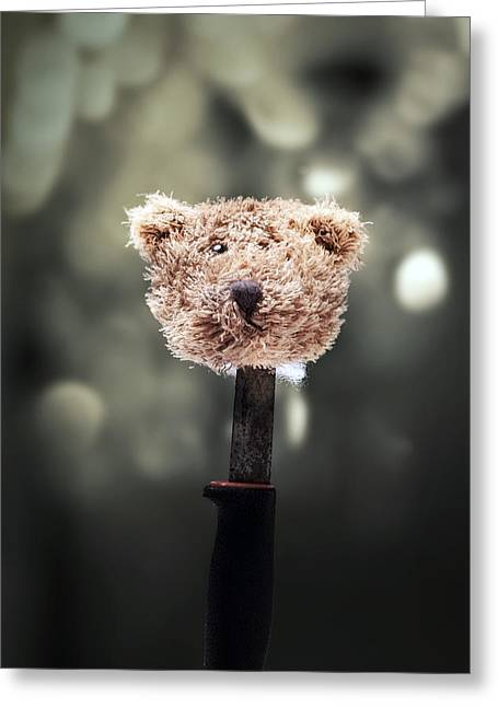 Head Of A Teddy Greeting Card by Joana Kruse