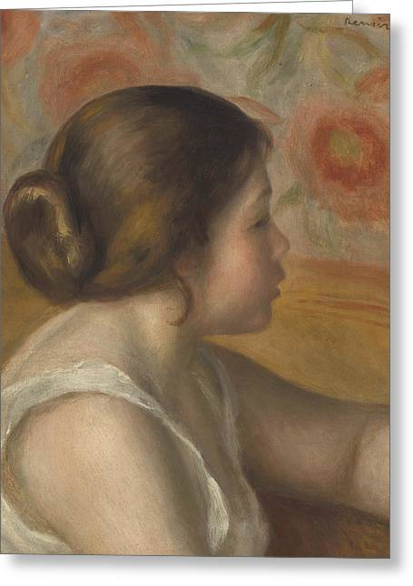 Head Of A Young Girl Greeting Card by Pierre Auguste Renoir