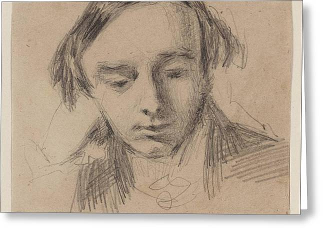 Head Of A Young Man Greeting Card by William Henry