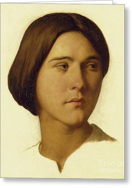 Head Of A Young Woman Looking To Her Left, 19th Century Greeting Card by Hippolyte Flandrin