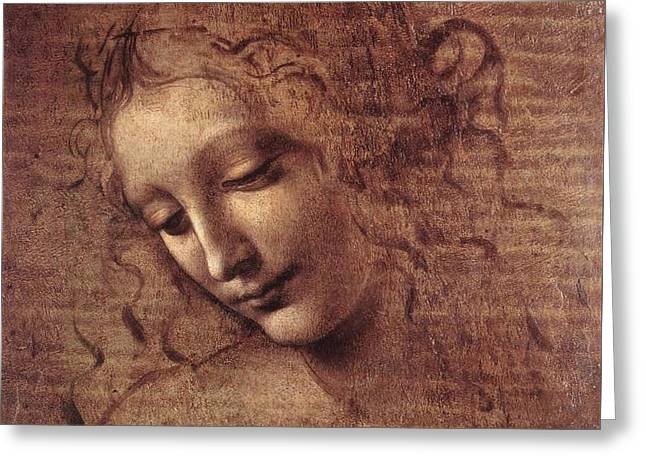 Head Of A Young Woman With Tousled Hair, Leda Greeting Card by Leonardo da Vinci