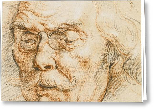 Head Of An Elderly Man Wearing Glasses Greeting Card