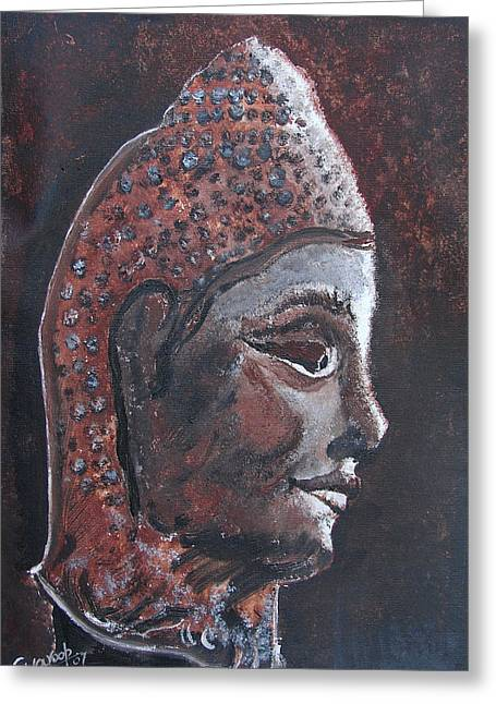 Greeting Card featuring the painting Head Of Buddha by Anand Swaroop Manchiraju