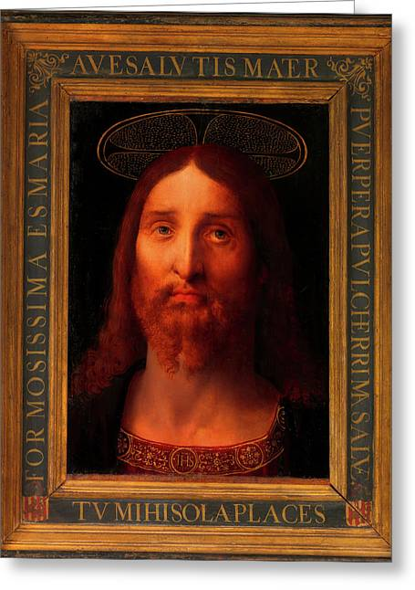 Greeting Card featuring the painting Head Of Christ                                   by Fernando De La Almedina