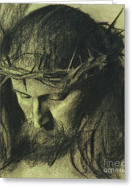Religious Greeting Cards - Head of Christ Greeting Card by Franz Von Stuck