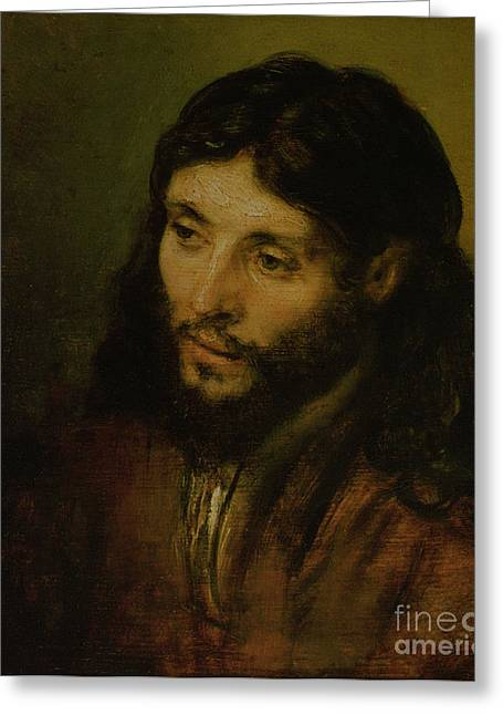 Old Masters - Greeting Cards - Head of Christ Greeting Card by Rembrandt