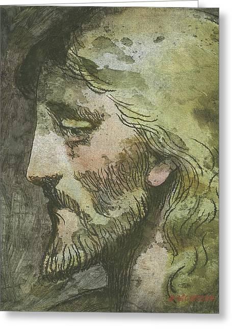 Head Of Christ Greeting Card by Robert McIntosh