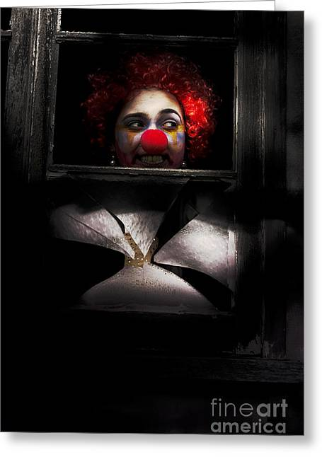 Head Of Clown In Dark Window Greeting Card