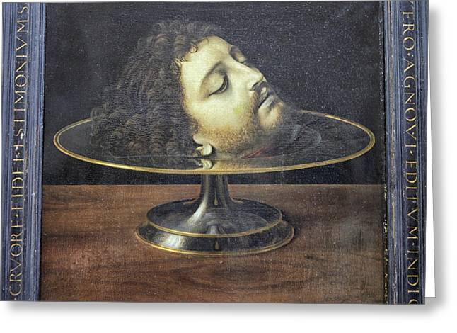 Greeting Card featuring the photograph Head Of John The Baptist, 1507, With Frame And Inscription -- By by Patricia Hofmeester