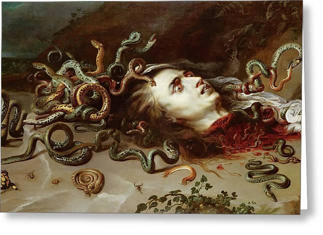 Head Of Medusa Greeting Card by Peter Paul Rubens