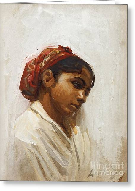Head Of Spanish Girl Greeting Card by Celestial Images
