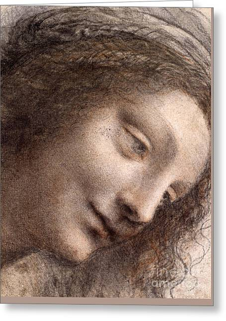 Head Of The Virgin Mary Greeting Card by Leonardo Da Vinci