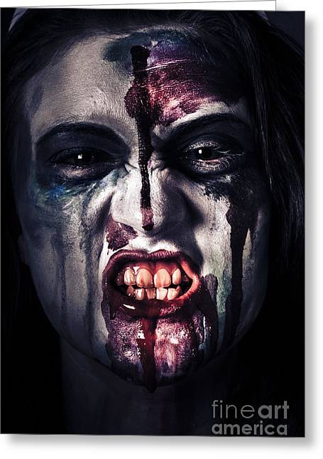 Head Shot On A Pure Evil Zombie Girl Greeting Card by Jorgo Photography - Wall Art Gallery