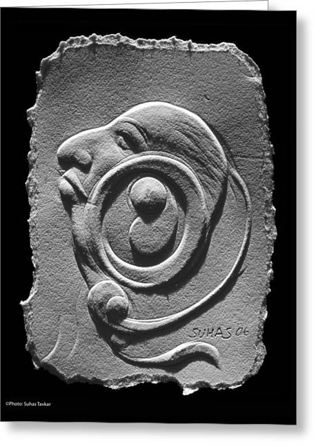 Greeting Card featuring the relief Head by Suhas Tavkar