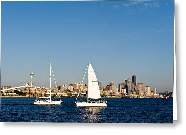 Head To Head In Seattle Greeting Card by Tom Dowd