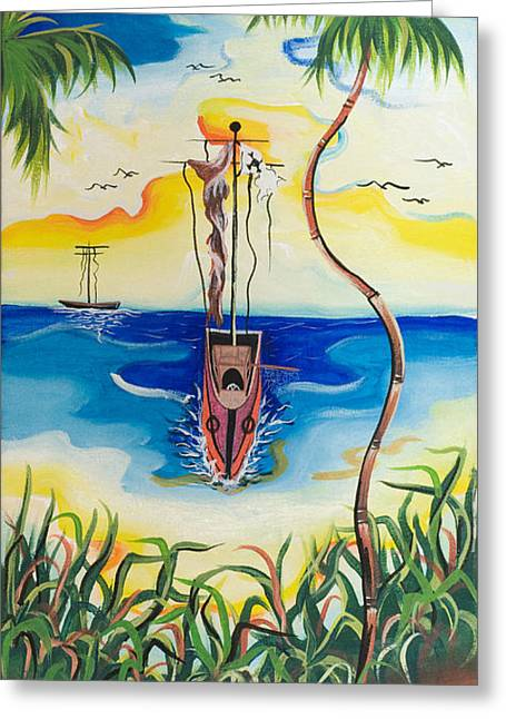 Headed To Shore Greeting Card by Herold Alvares