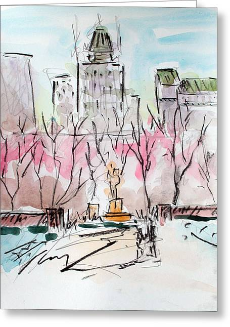 Heading Back To The Plaza Greeting Card by Chris Coyne