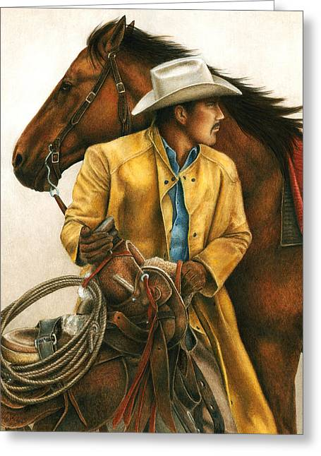 Cowboys Greeting Cards - Heading Out Into the Storm Greeting Card by Pat Erickson