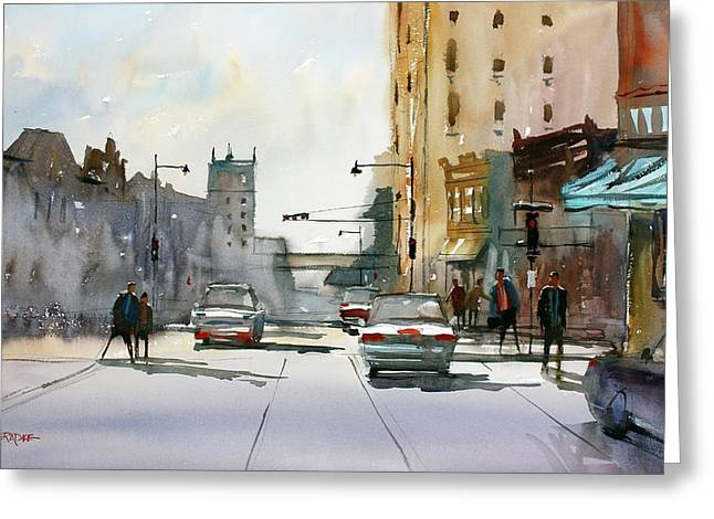 Heading West On College Avenue - Appleton Greeting Card
