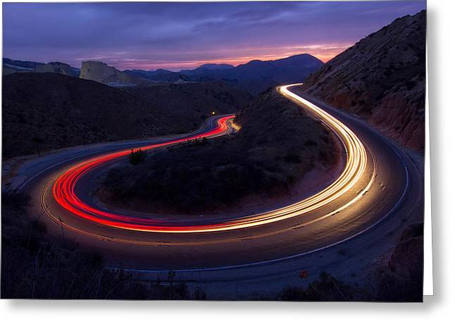 Headlights And Brake Lights Greeting Card by Karl Klingebiel
