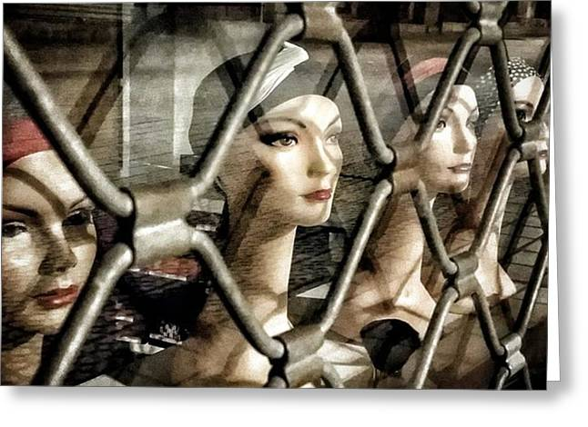 Heads' Cage #shop #manequin #window Greeting Card