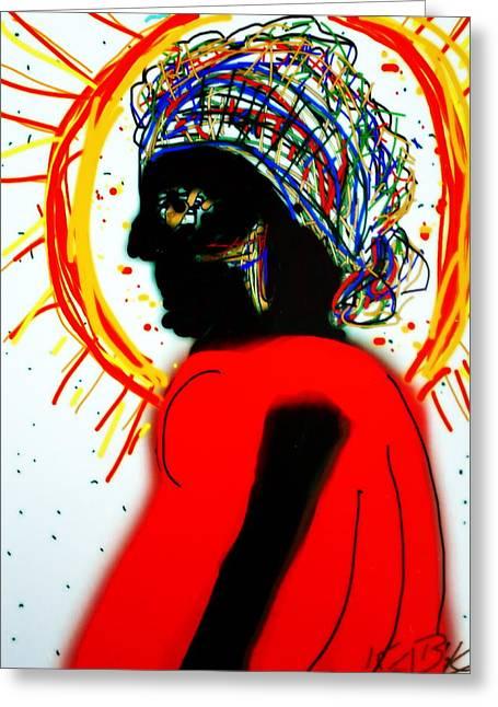 Headscarf Greeting Card by Kathy Barney