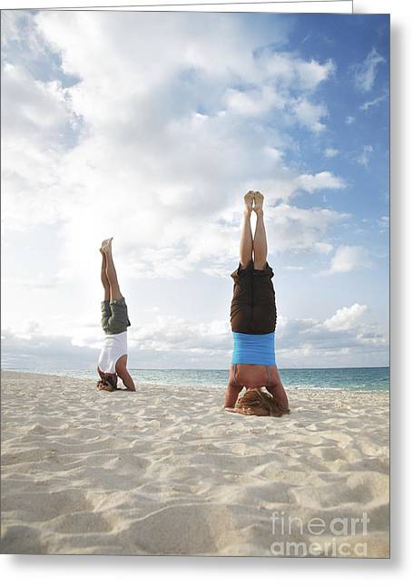 Headstand On Beach Greeting Card by Brandon Tabiolo - Printscapes