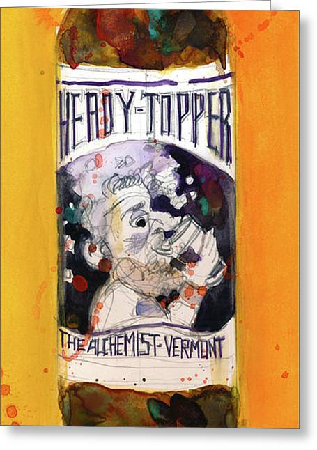 Heady Topper By The Alchemist Vermont Beer Greeting Card by Dorrie Rifkin
