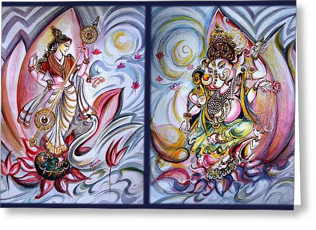Healing Art - Musical Ganesha And Saraswati Greeting Card