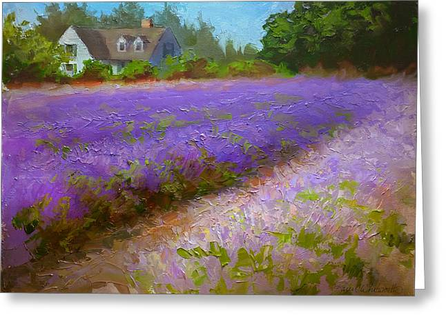 Impressionistic Lavender Field Landscape Plein Air Painting Greeting Card by Karen Whitworth