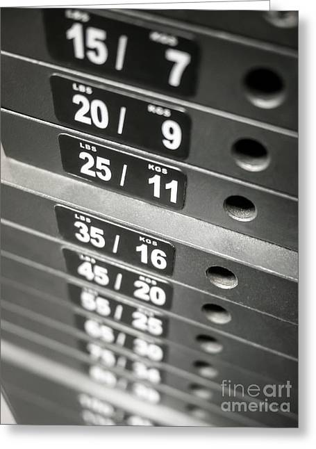 Healthclub Equipment Weight Plate Stack Greeting Card by Paul Velgos