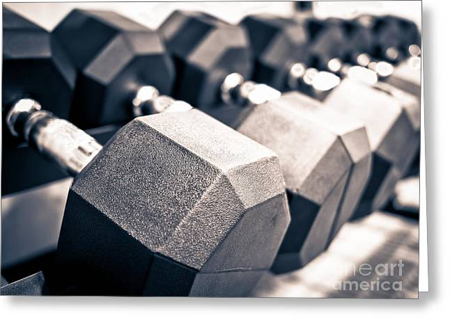 Healthclub Free Weights Dumbbell Rack Greeting Card